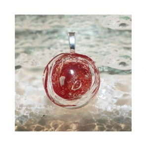 ROUND CABOCHON PENDANT - Red