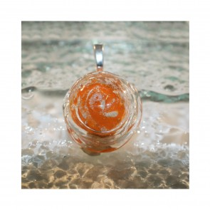 ROUND CABOCHON PENDANT - Orange